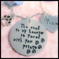 A personal favorite from my Etsy shop https://www.etsy.com/listing/473592010/pet-memorial-jewelry-the-road-to-my