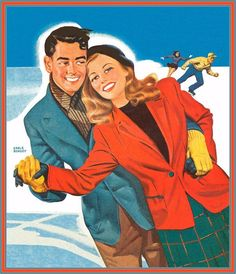 Love on ice...illustration by Earl Bergey, ca. 1940s.