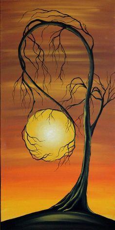 Voir grand paysage Original peinture - 15 x 30 dans-Hold The Dream - gros plans - angiec arbre hante la peinture surréaliste
