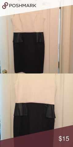 Ladies dress New with tag studio dress. Gorgeous off white top with faux leather peplum skirt perfect for a date night or to the office! Etudes Studio Dresses