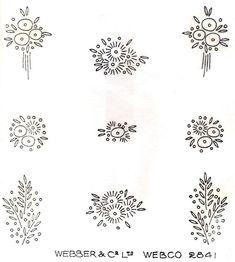1930's Art Deco Flower Sprig Designs Vintage Iron on Embroidery Transfer 152 | eBay