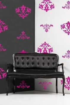 Hot pink Etsy damask decals for a touch of girly.