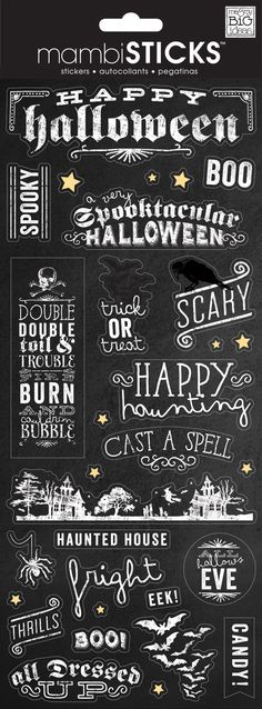 Everyone loves stickers! They are so easy to use and add personality and design to any project. Just peel, stick and you're done! Each package contains one x sticker sheet. Halloween Quotes, Halloween Signs, Spooky Halloween, Holidays Halloween, Vintage Halloween, Halloween Crafts, Happy Halloween, Halloween Decorations, Halloween Ideas