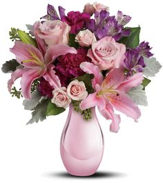 The exquisite bouquet includes pink roses, light pink spray roses, light pink oriental lilies, purple alstroemeria and fuchsia carnations accented with assorted Flowers For Mom, Month Flowers, Order Flowers, Flowers Online, Pretty Flowers, Spring Flowers, Pink Flower Arrangements, Vase Arrangements, Teleflora Flowers