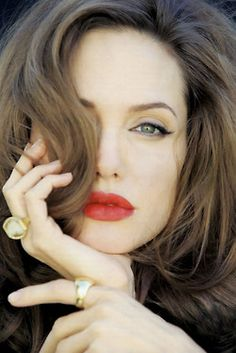 Angelina Jolie, with red lips..