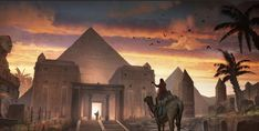 canvasss Ancient Egypt - Pyramids and Camel at Sunset - Handmade Oil Paintings On Canvas - Egyptian Decor - Egyptian Wall Art Ancient Egypt Pyramids, Ancient Egypt Art, Ancient Aliens, Ancient Artifacts, Ancient Greece, Egyptian Temple, Egyptian Art, Fantasy Art Landscapes, Fantasy Landscape