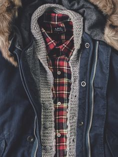 Fur Trimmed Navy Parka, Gray Shawl Collar Cardigan, Plaid Shirt. Men's Fall/Winter Style.
