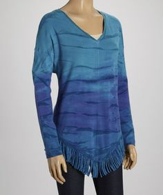 This Blue Tie-Dye Fringe V-Neck Top by Barbara Lesser is perfect! #zulilyfinds