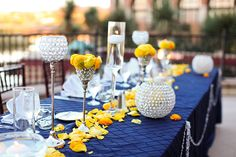 navy blue yellow and gray wedding reception | purple and yellow wedding Lake Las Vegas Destination Wedding