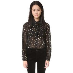 Scotch & Soda/Maison Scotch Star Blouse ($115) ❤ liked on Polyvore featuring tops, blouses, star print, sheer chiffon blouse, transparent blouse, tie top, star blouse and see through tops