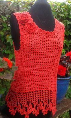 Flamenco designed ladies crochet top pattern by DesignedbySonya, $5.00