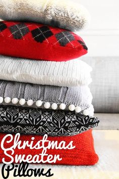 Grosgrain: Holiday Pillows out of Thrift Store Sweaters & Upcycled Sweater Holiday Crafts | Upcycled sweater Holiday crafts ... pillowsntoast.com