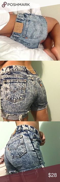 """Levi's • Vintage orange tab acid wash shorts Vintage Levi's orange tab acid wash high waisted cut off shorts. Size XS. Would fit size 23. Waist 12"""" across, hips 16"""", rise 9.75"""". Little yellow spot on pocket and on one of the legs but it's not too noticeable. Wish they fit cause they're amazing!! First and last photo for style suggestion only. Very similar to the cover photo! Levi's Shorts Jean Shorts"""