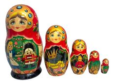 Nutcracker Suite Christmas Tree 5 Piece Russian Handcrafted Wooden Nesting Doll