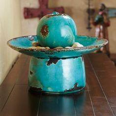Perfect Home Decor   Teal Ceramic Fountain