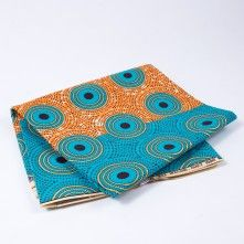 Turquoise+and+Orange+Waxed+Cotton+African+Print+with+Gold+Metallic+Glitter
