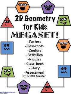 Teaching elementary age kids about geometry - fun activities, posters, worksheets, riddles, and assessments...