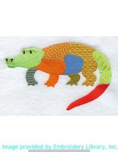 Stickmotiv Stickbild Aufnäher Stickerei Emblem Krokodil  Krokodil /  Stickerei Patchwork Alligator (A2290)