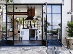 big metal windows and doors, stone patio Steel Doors And Windows, Metal Windows, Ceiling Windows, Large Windows, Home Design Decor, House Design, Interior Design, Interior Paint, Design Ideas