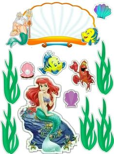 Disney Princess Birthday Party, Princess Theme, Mermaid Disney, Ariel The Little Mermaid, Scrapbook Da Disney, Happy Birthday Printable, Homemade Stickers, Silhouette Clip Art, Happy Birthday Cake Topper