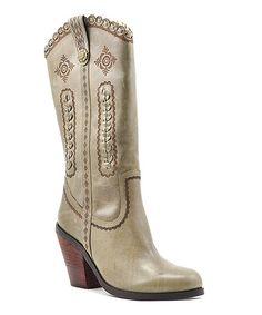 Look at this #zulilyfind! Khaki Rosewell Leather Western Boot #zulilyfinds