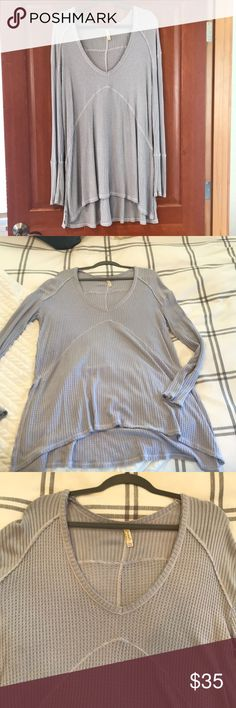 Free people long sleeve thermal Beautiful and soft light blue/purple over sized thermal. Tunic length with long sleeves. New without tags! Free People Tops Tunics