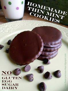 Homemade Thin Mint Cookies. No gluten, egg, sugar or dairy.