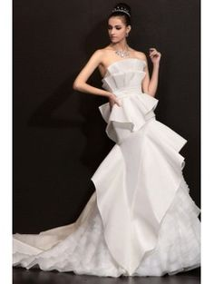 Satin Strapless Chapel Train A-line Wedding Dress