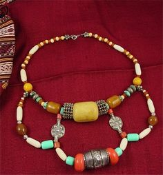 Old Yemen Silver and Pressed Amber Bead Necklace in Bedouin Style | craftsofthepast - Jewelry on ArtFire