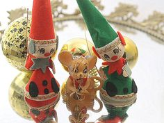 Vintage Christmas Lot Elves Mouse Decoration by littleofeverything