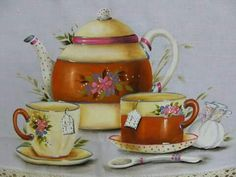 by Sandra S. Decoupage Vintage, Decoupage Paper, Fabric Painting, Painting On Wood, Teapot Cake, Decoupage Printables, Coffee World, Coffee Cards, Rose Tea
