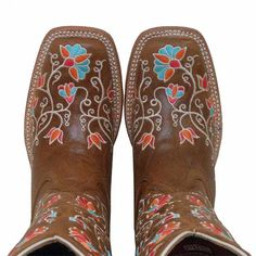 Circle G Womens Floral Embroidered Snip Toe Cowboy Boots