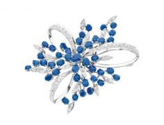 Sapphire, Diamond and 14K White Gold Brooch « Dupuis Fine Jewellery Auctioneers