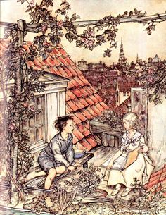 'Kay and Gerda in their garden high up on the roof.' Illustration from The Snow Queen by Arthur Rackham. From Fairy Tales by Hans Christian Andersen, 1932