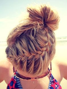 Perfect mix of messy bun and braid