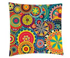 Beautiful Color Combination Multicolor Floral Painted Cushion Cover& Cushion Fillers