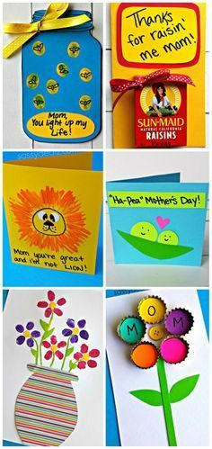 Easy Mother's Day Cards & Crafts for Kids to Make #Mothersday gift ideas #DIY   www.sassydealz.co...