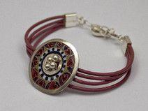 Sterling silver cloisonne enamel Heart bracelet