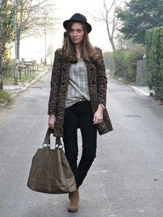 leopard coat + black + nuetrals