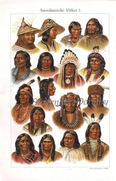 1904 Vintage American NATIVE PEOPLE print, Faces Human race from America lithograph, ANTIQUE Culture tribe indians indigenous engraving. Native American History, Native American Indians, Antique Illustration, Native Indian, Indian Tribes, First Nations, Nativity, North America, Wilderness Survival