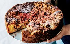 Equal parts fruit crumble and coffee cake, this not-too-sweet dessert starts out bright pink but bakes to a toasty golden brown. Pastry Recipes, Cake Recipes, Snack Recipes, Dessert Recipes, Baking Recipes, Yummy Recipes, Breakfast Recipes, Vegan Recipes, Yummy Food