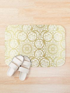 'Mystical White Gold Design' Bath Mat by Shane Simpson Bath Mat Design, Bath Mats, Foam Cushions, Iphone Wallet, Mystic, White Gold, Retro, Prints, Stuff To Buy
