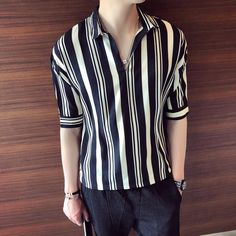 3d925111dc2 2018 Summer New Men s Solid Color Stripes Short-sleeved Simple Personality  Casual T-shirt