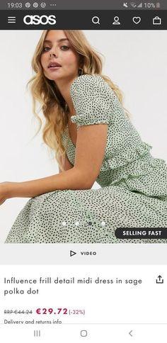Influence frill detail midi dress in sage polka dot