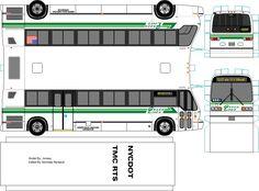 Green Lines paper model bus by Jonesy. DIY paper craft