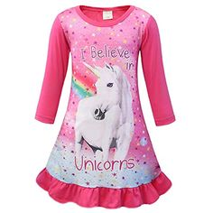 eb29ef9fb0 AmzBarley Filles Licorne Chemises De Nuit Enfants Arc en Ciel Nuisette  Chemise À Manches Longues Dressing