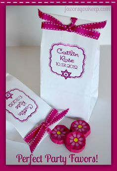 Our party favor bags keep goodies fresh, stand up or lay flat. Available in white as shown or natural kraft.