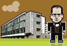 Brutalist - Walter Gropius, with the Bauhaus Building.