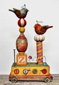 Forgotten Toys ~ Folk art assemblage by Greg Guedel. Carved wood, salvage wood and vintage finds. https://www.gregguedel.com