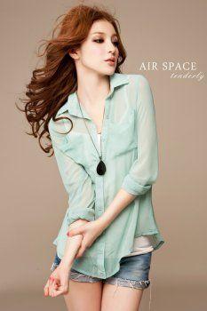 Stylish Long Sleeve Perspective Chiffon Shirt for Women Plus Size Maxi Dresses, Cheap Dresses, Plus Size Outfits, Cute Dresses, Korean Blouse, Dress Outfits, Fashion Outfits, Fasion, Fashion Clothes